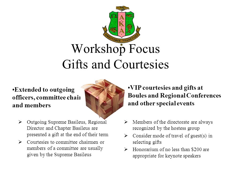 Workshop Focus Gifts and Courtesies