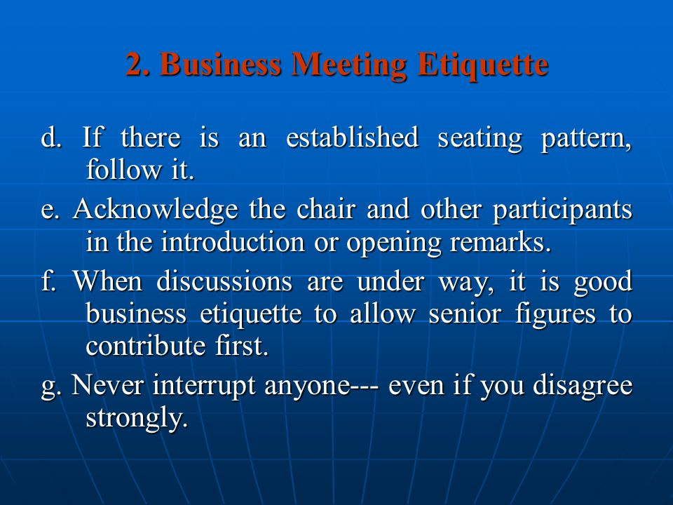 2. Business Meeting Etiquette