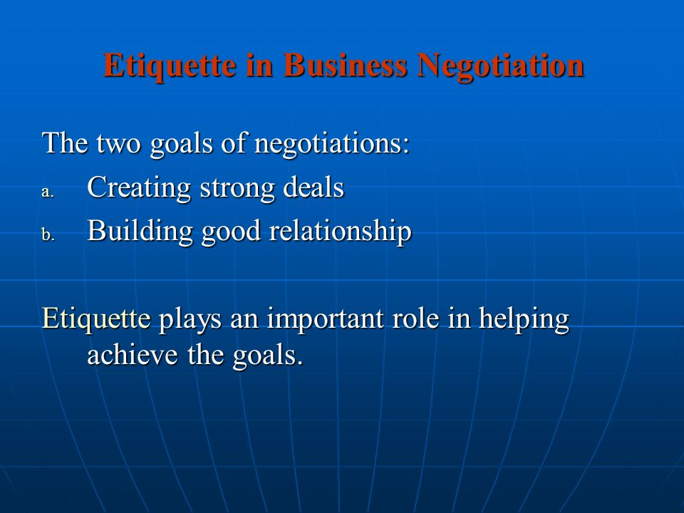 Etiquette in Business Negotiation