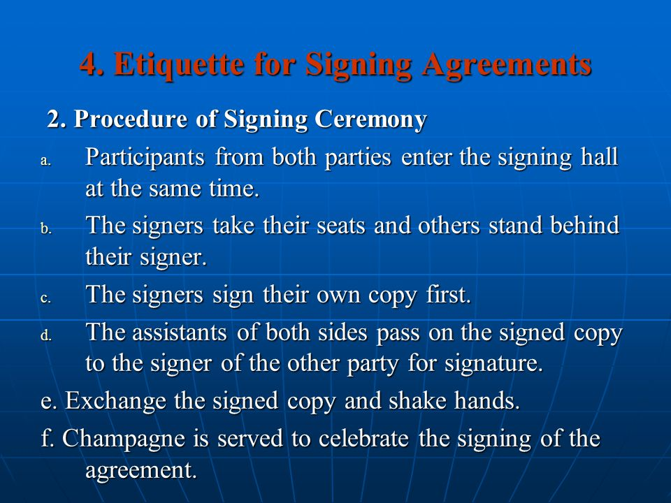 4. Etiquette for Signing Agreements