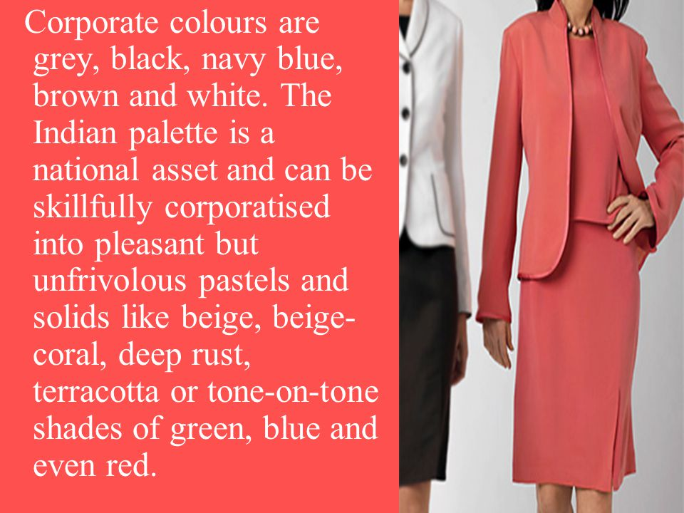 Corporate colours are grey, black, navy blue, brown and white