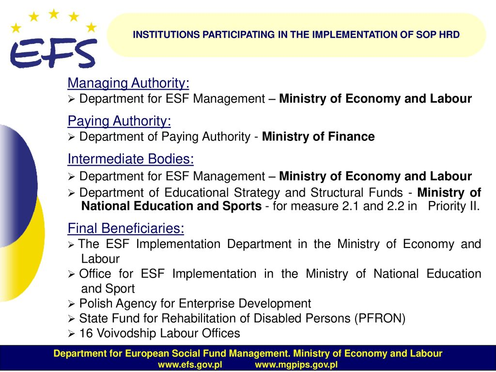 Sectoral Operational Programme Human Resources Development