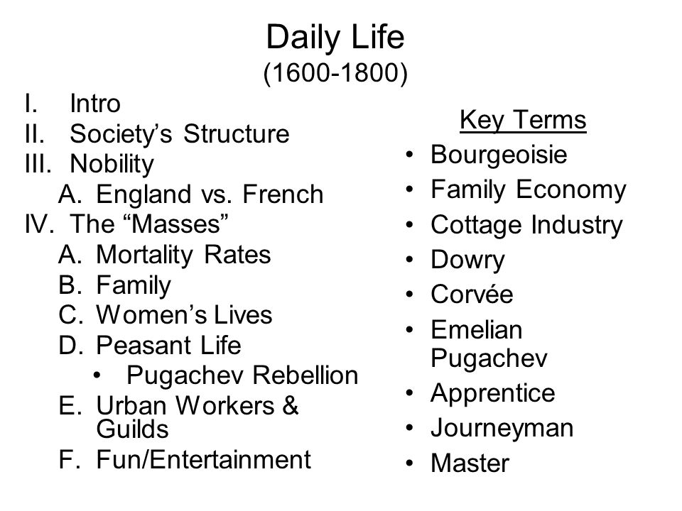 Daily Life (1600-1800) Intro Society's Structure Key Terms Nobility