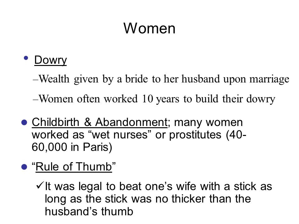Women Dowry Wealth given by a bride to her husband upon marriage
