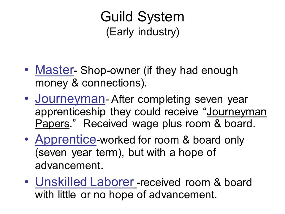 Guild System (Early industry)