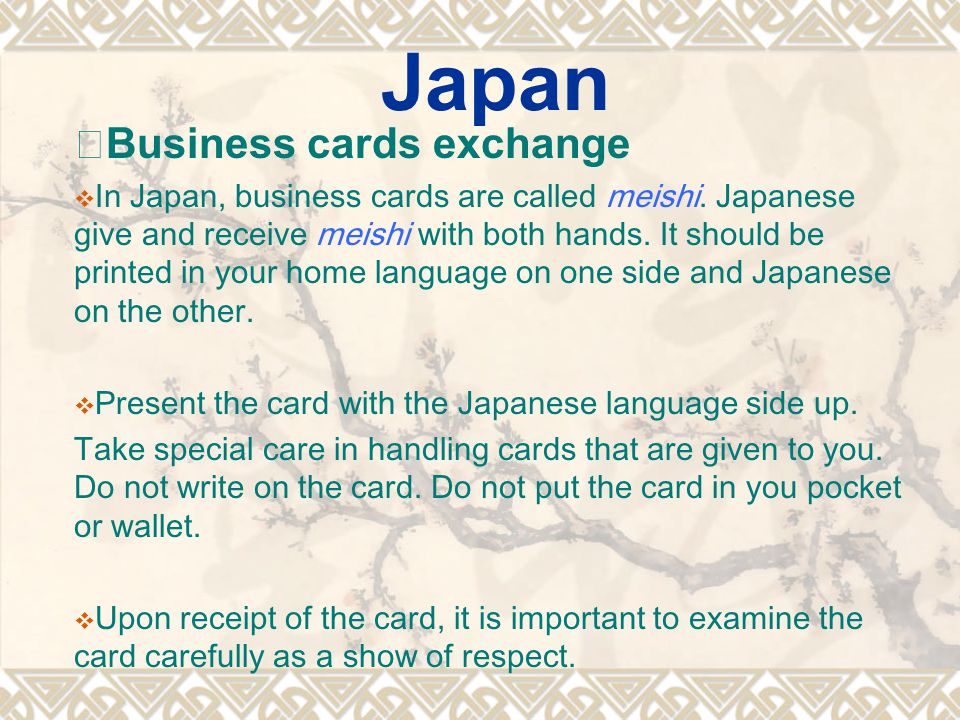 Japan ※Business cards exchange