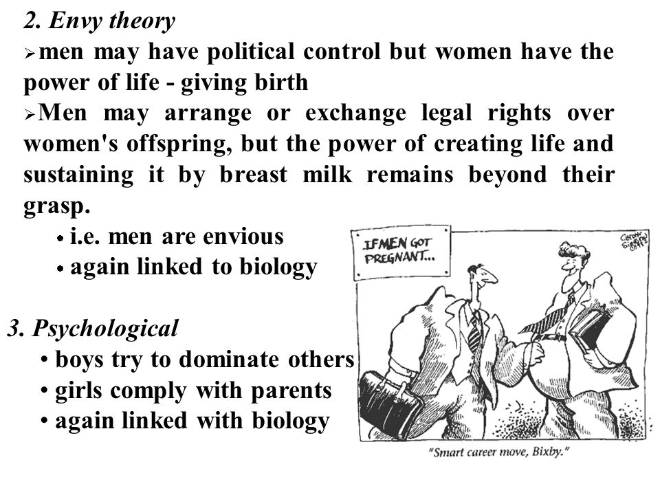2. Envy theory men may have political control but women have the power of life - giving birth.