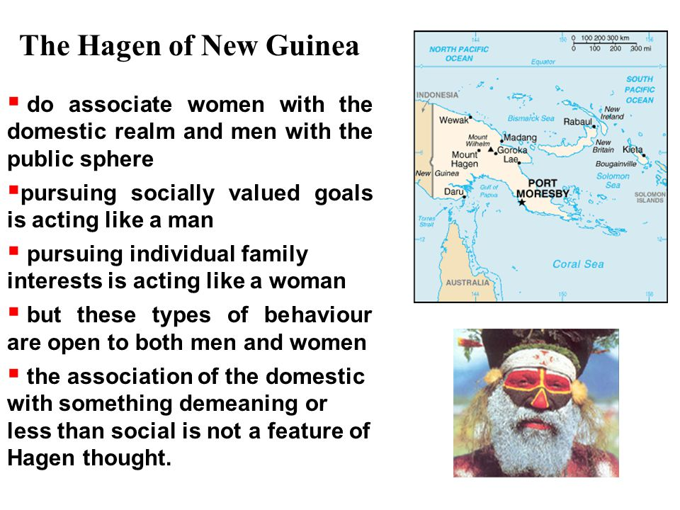 The Hagen of New Guinea do associate women with the domestic realm and men with the public sphere.