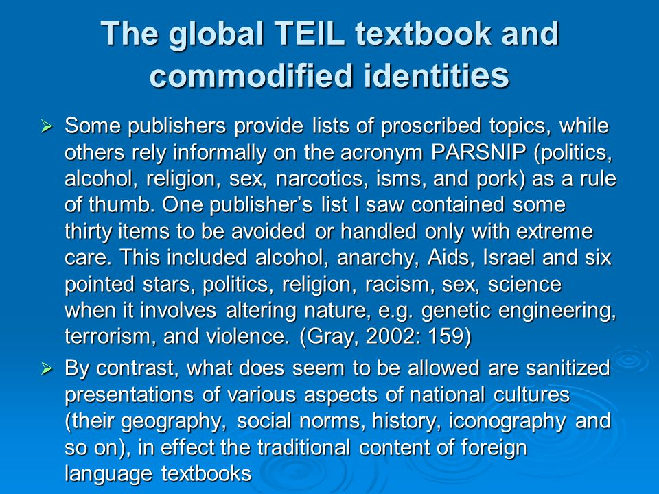 The global TEIL textbook and commodified identities