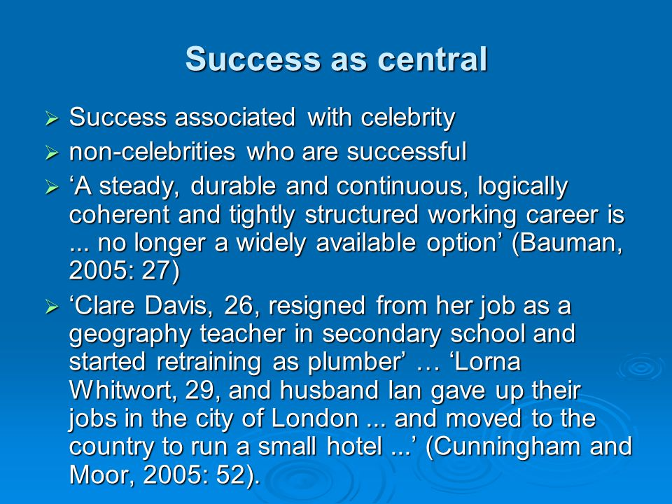 Success as central Success associated with celebrity