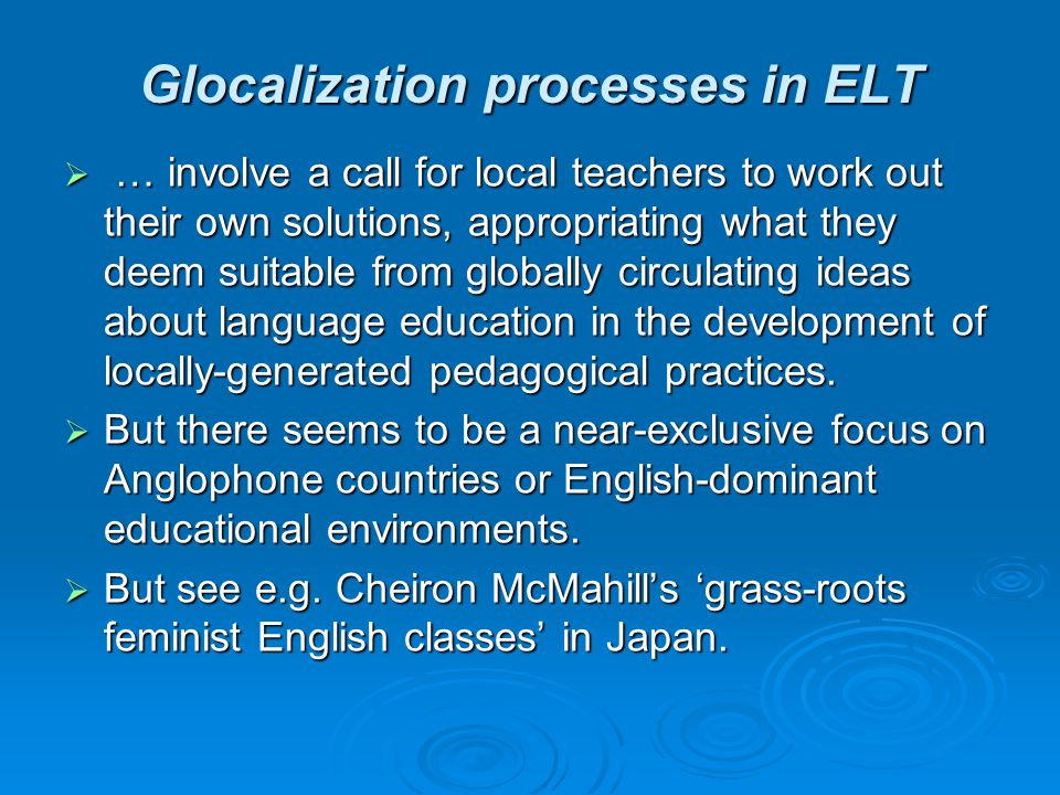 Glocalization processes in ELT