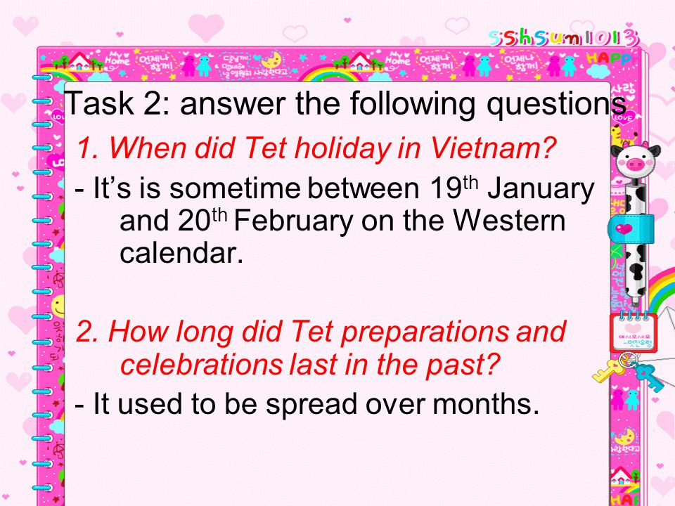 Task 2: answer the following questions