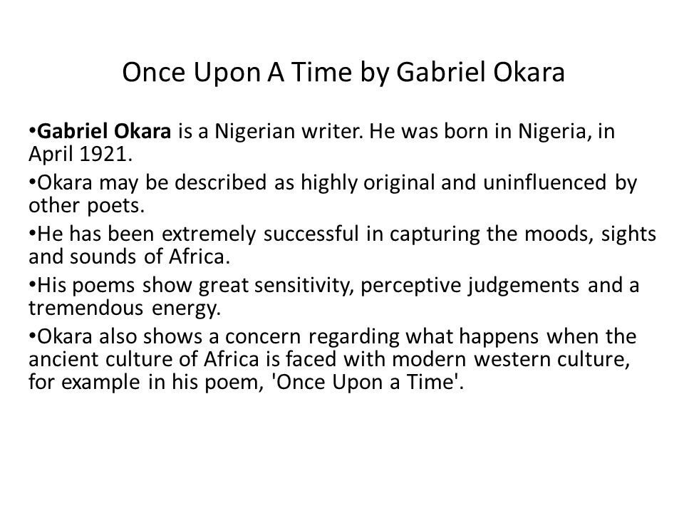 essay on once upon a time by gabriel okara