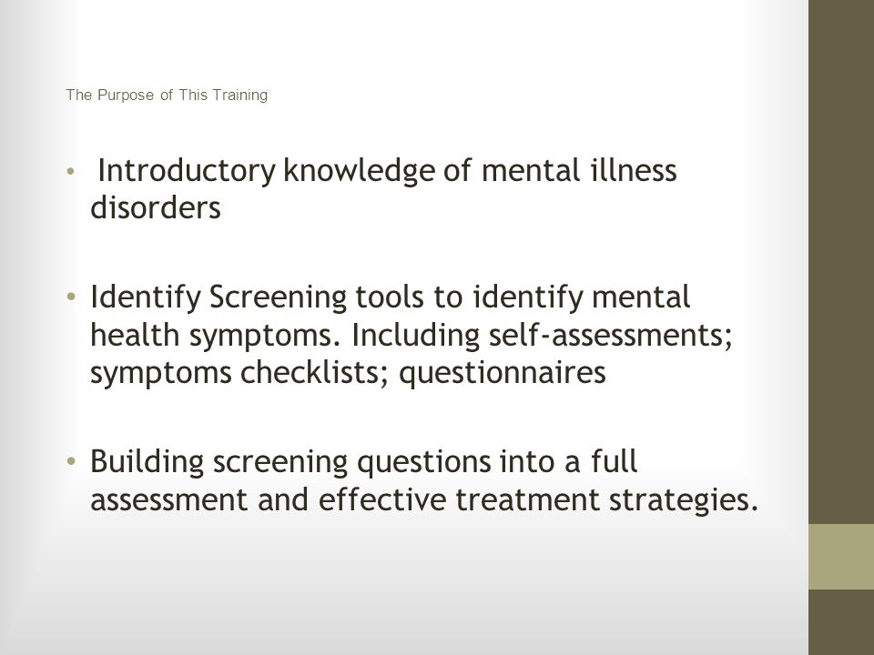 Screening Adults For Mental Health Disorders Ppt Video Online Download