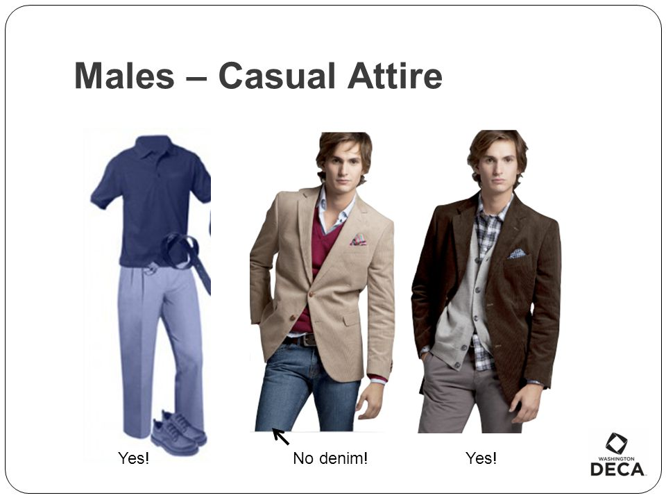 Males – Casual Attire Yes! No denim! Yes!