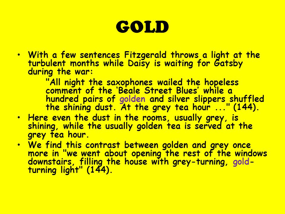 what does gold represent in the great gatsby