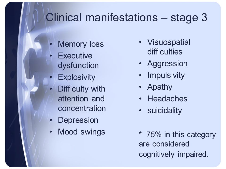 Clinical manifestations – stage 3