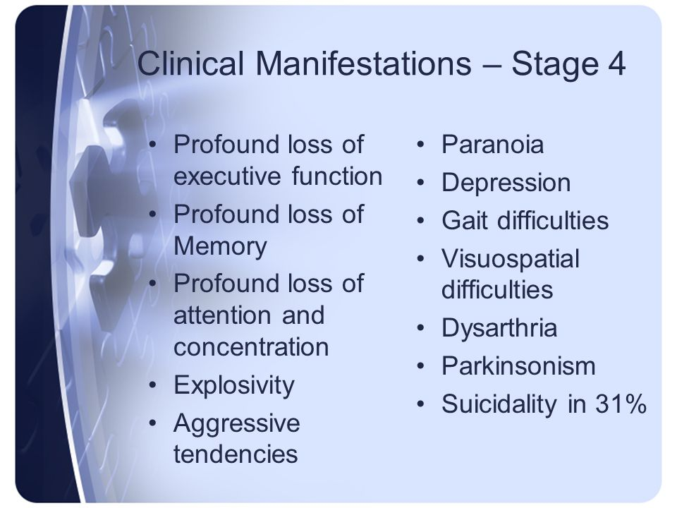 Clinical Manifestations – Stage 4