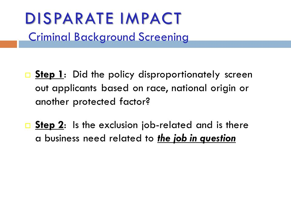 Disparate Impact Criminal Background Screening