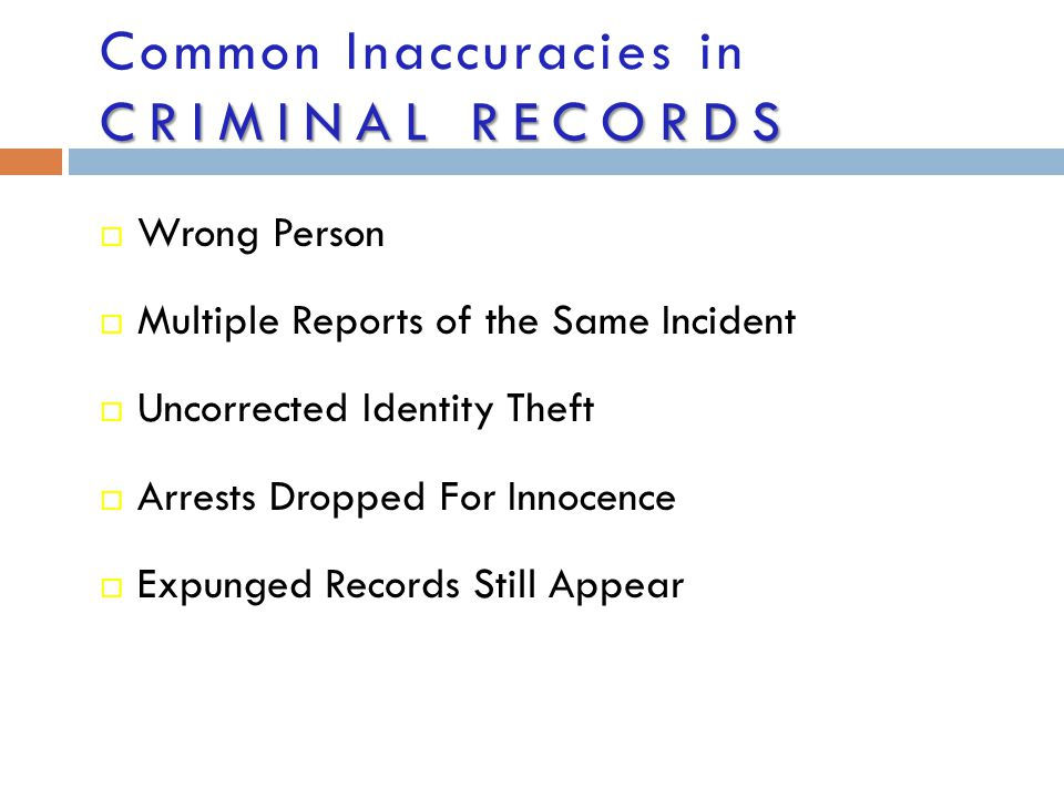Common Inaccuracies in Criminal Records