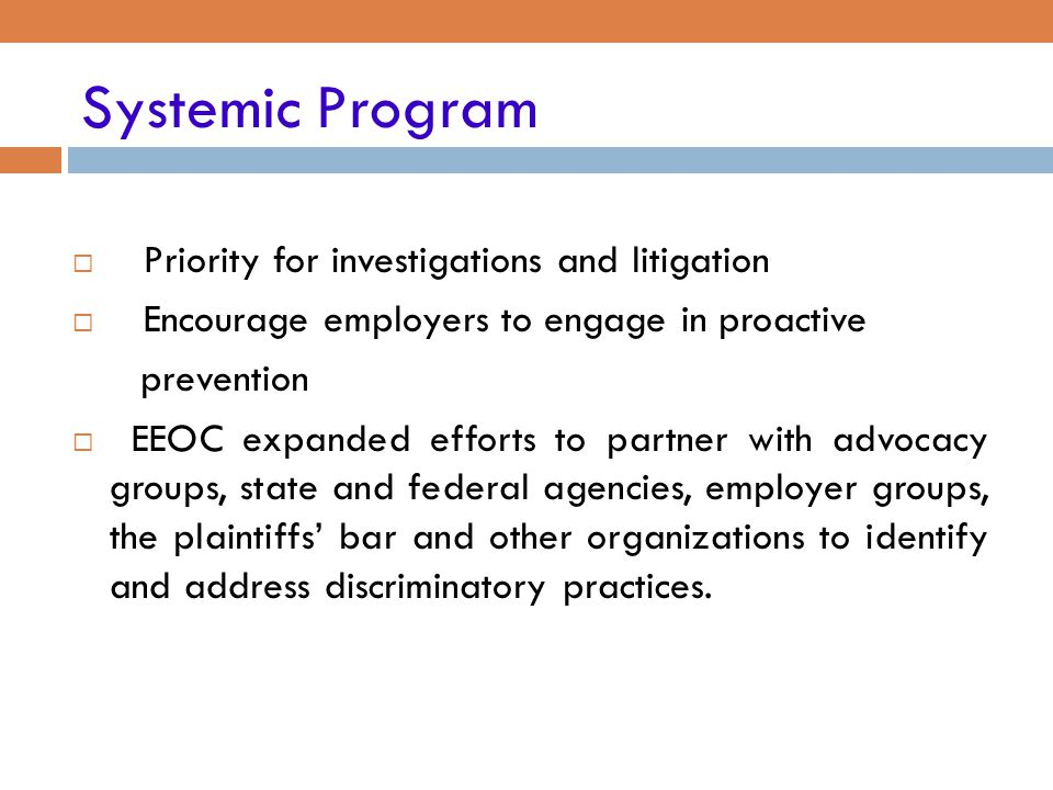 Systemic Program Priority for investigations and litigation