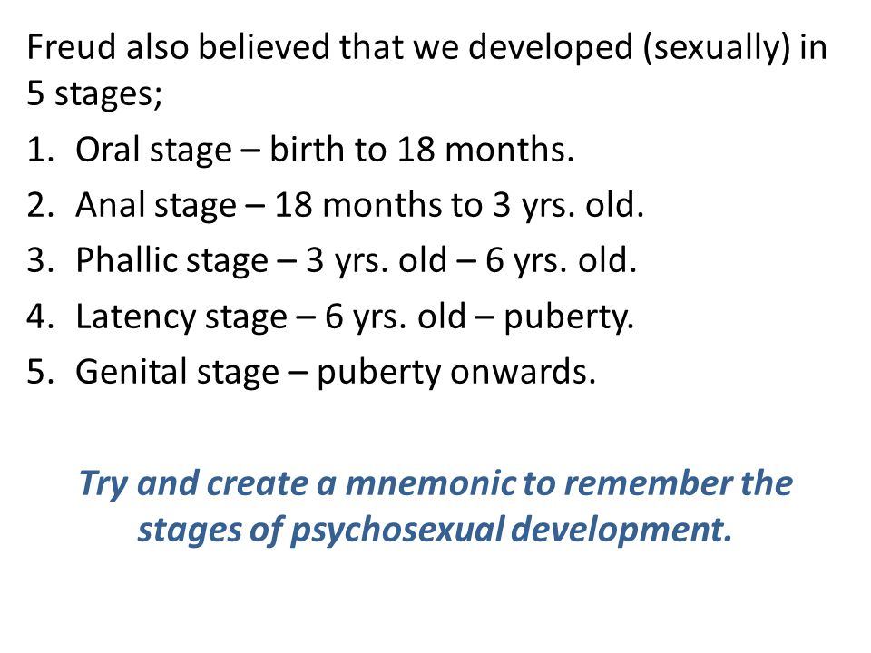 Freud also believed that we developed (sexually) in 5 stages;