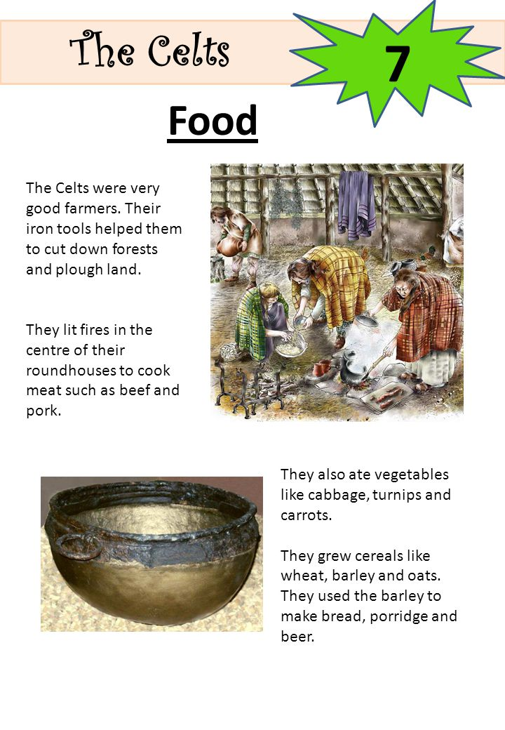 The Celts 7. Food. The Celts were very good farmers. Their iron tools helped them to cut down forests and plough land.