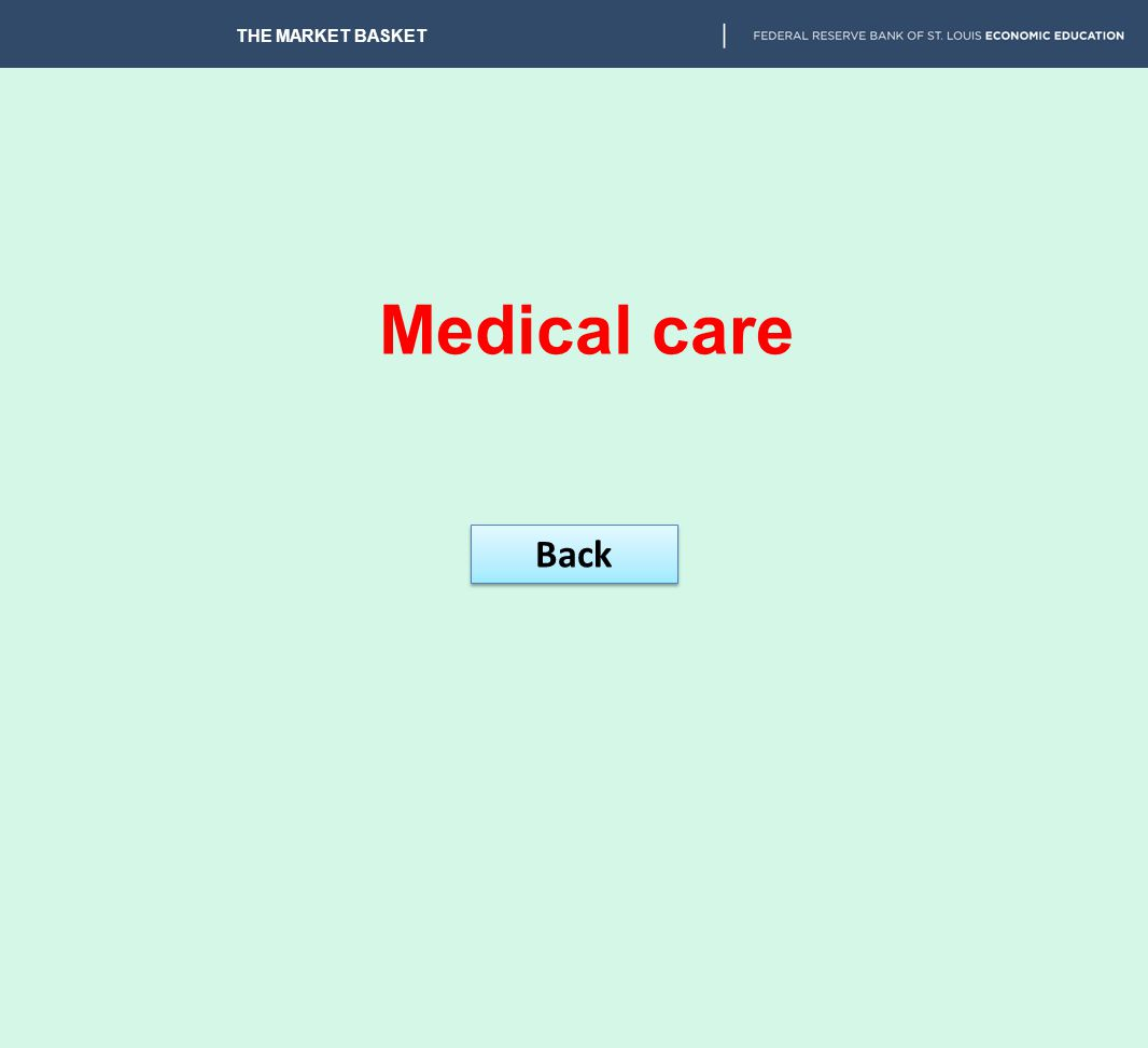 THE MARKET BASKET Medical care Back
