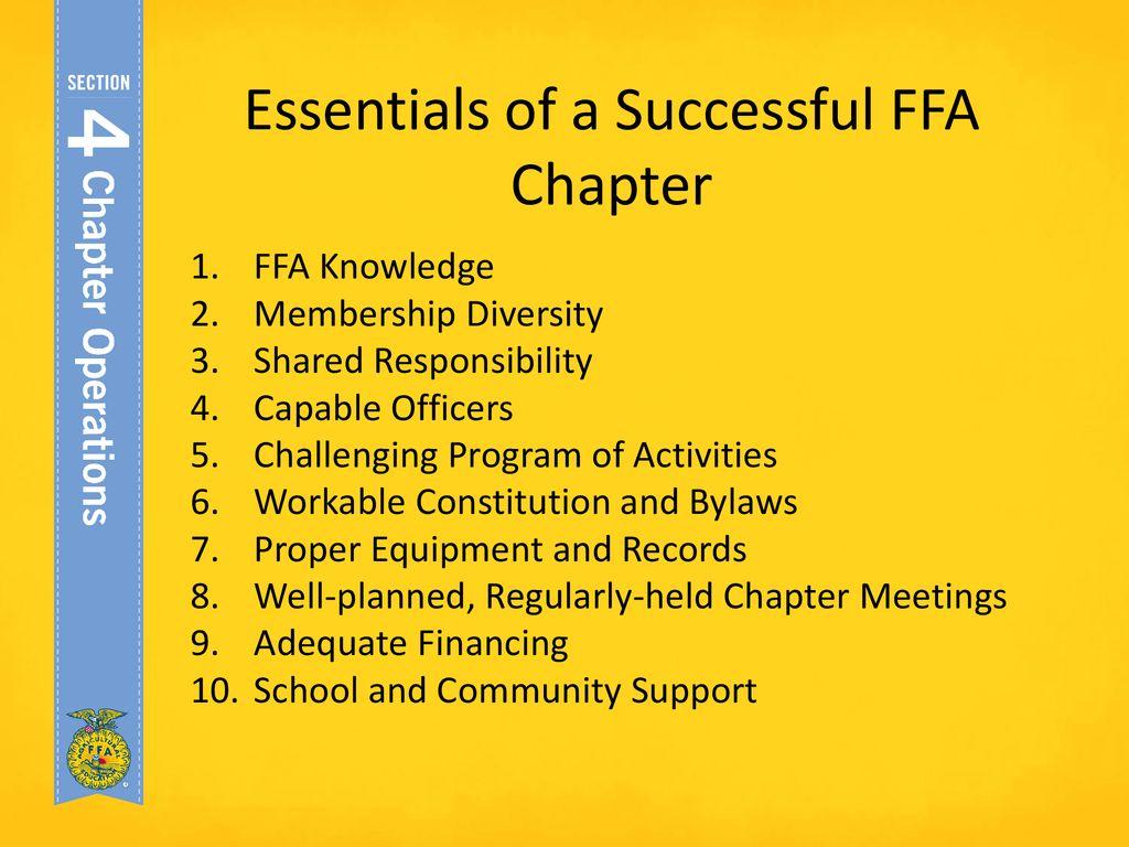 Essentials Of A Successful Ffa Chapter