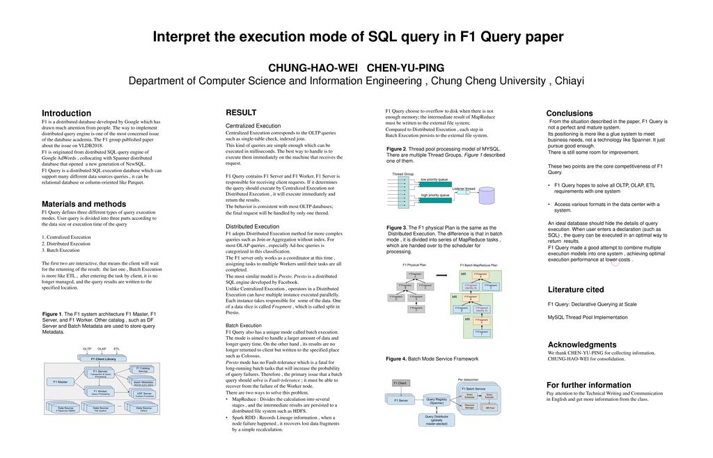 Interpret the execution mode of SQL query in F1 Query paper - ppt