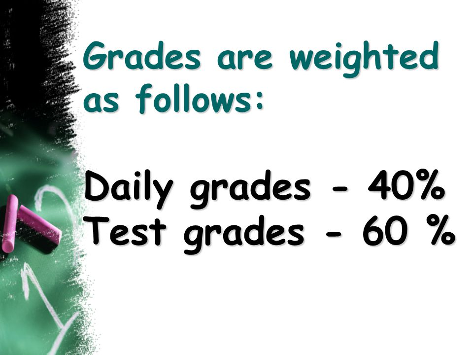 Grades are weighted as follows: Daily grades - 40% Test grades - 60 %