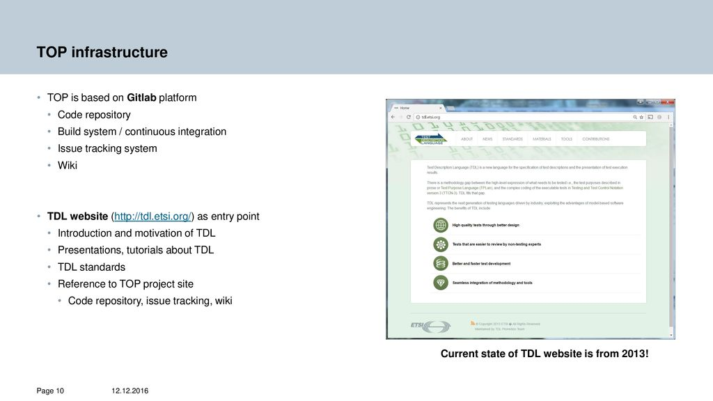 TDL Open Source Project (TOP) Input to MTS#70, - ppt download