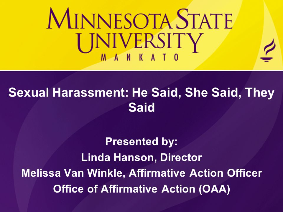 The Minnesota policies on sexual harassment