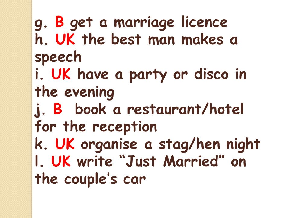 g. B get a marriage licence