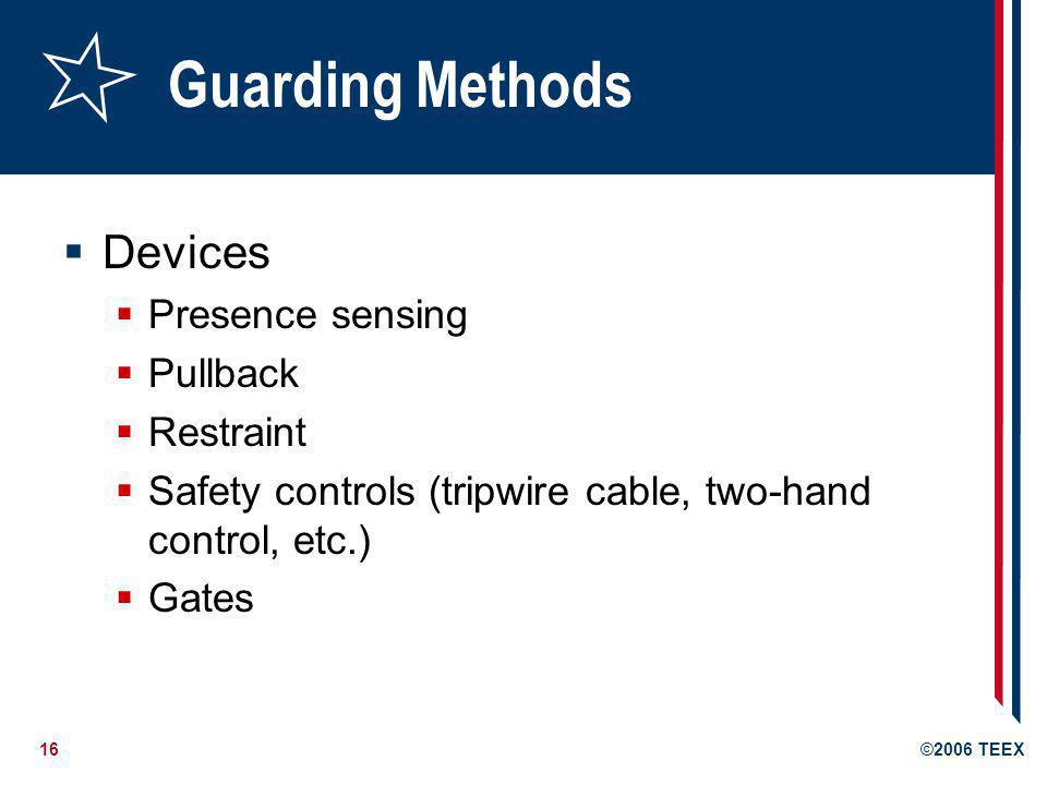 Guarding Methods Devices Presence sensing Pullback Restraint