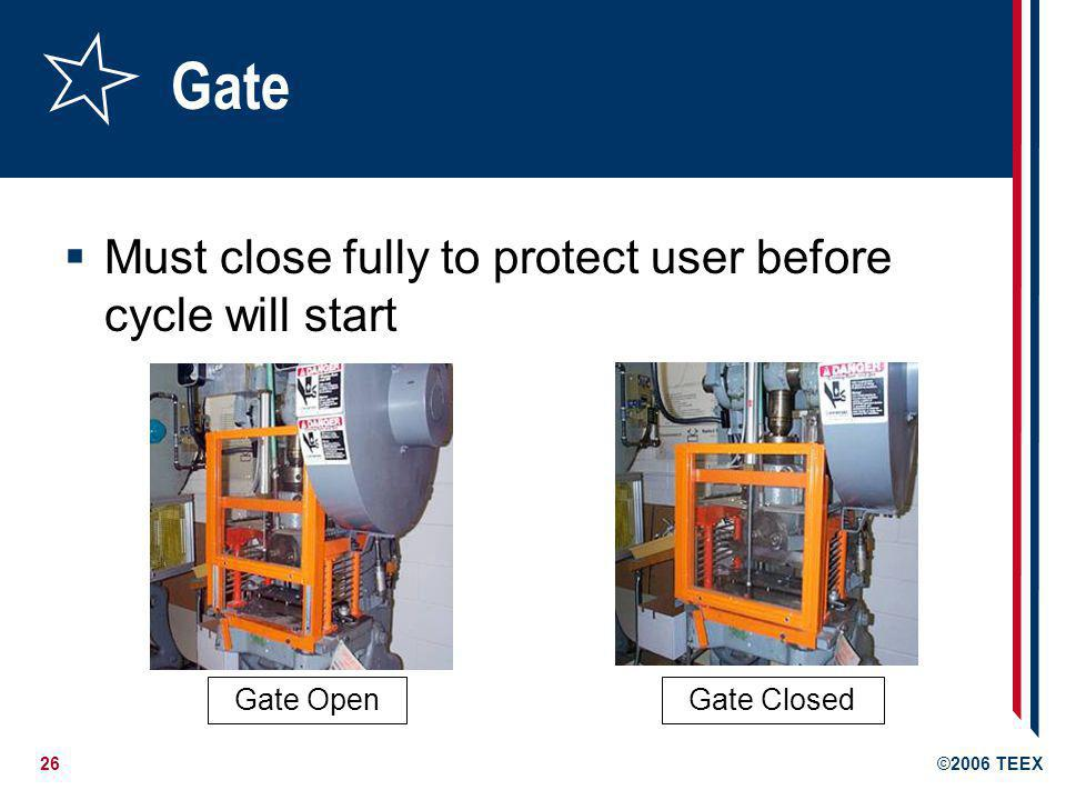 Gate Must close fully to protect user before cycle will start