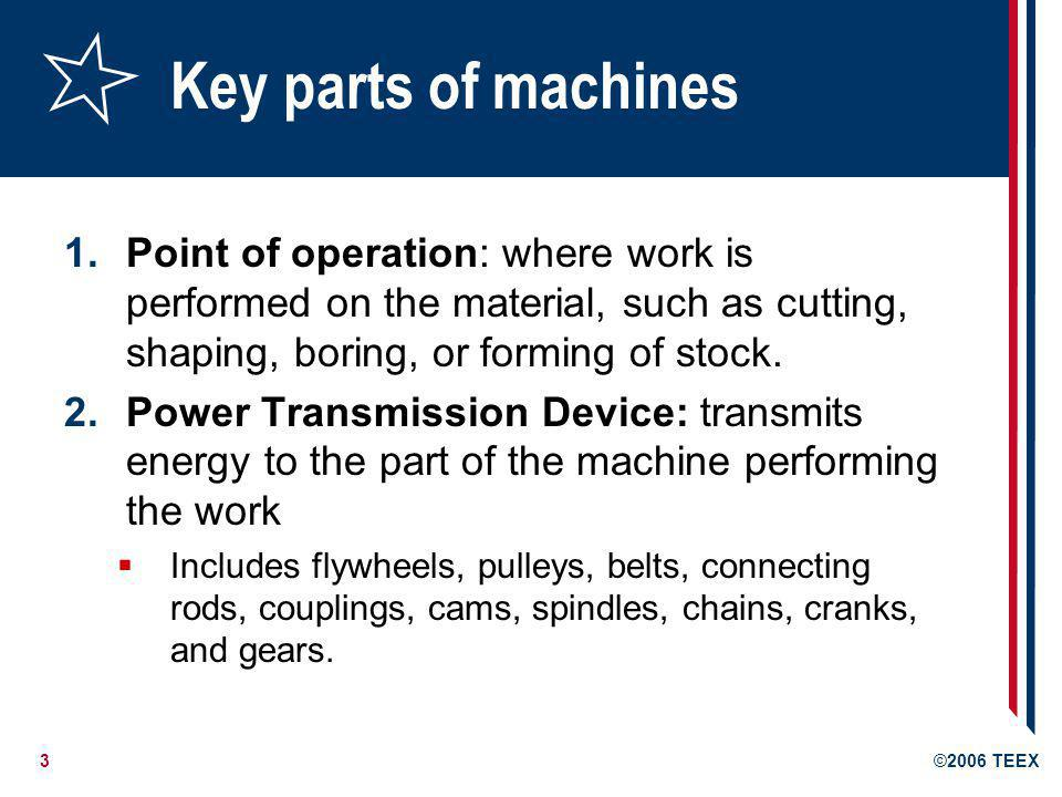 Key parts of machines Point of operation: where work is performed on the material, such as cutting, shaping, boring, or forming of stock.