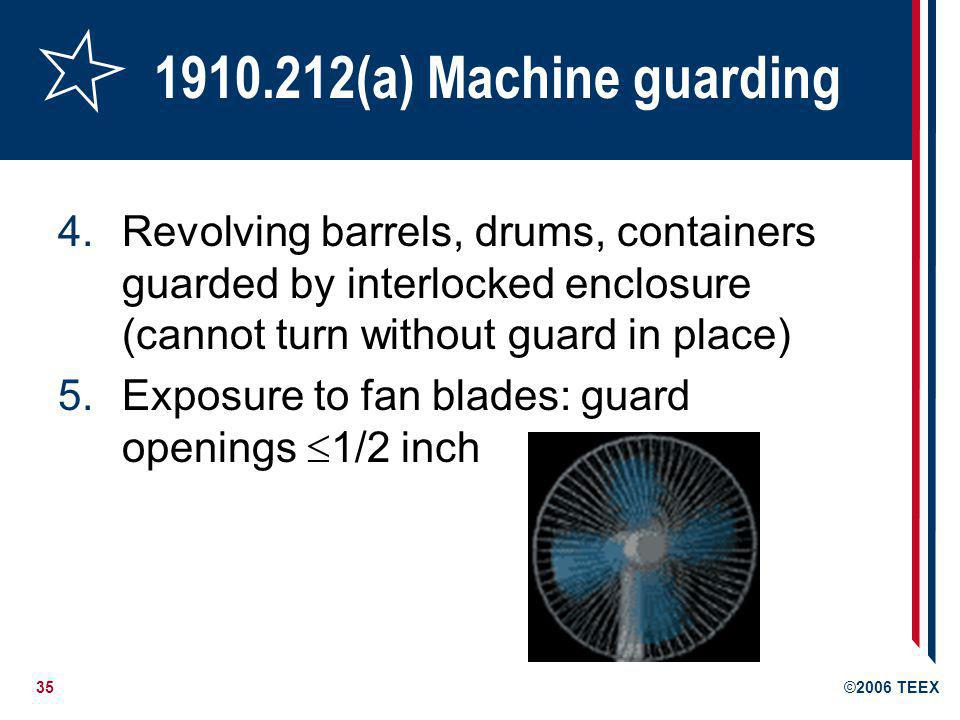 1910.212(a) Machine guarding Revolving barrels, drums, containers guarded by interlocked enclosure (cannot turn without guard in place)