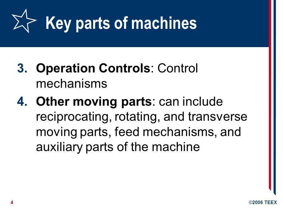 Key parts of machines Operation Controls: Control mechanisms
