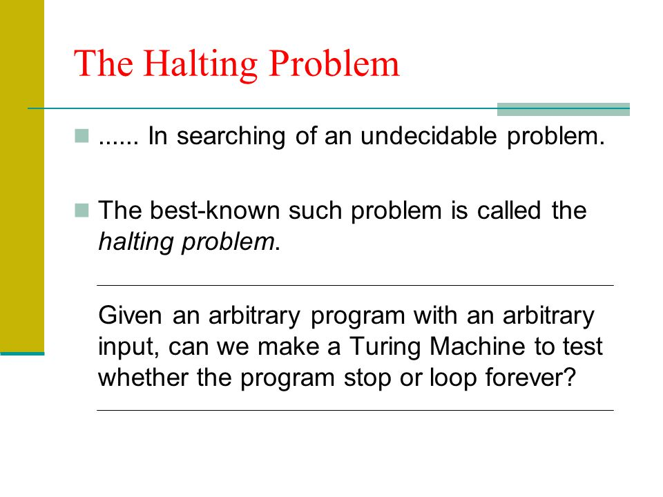 The Halting Problem ...... In searching of an undecidable problem.