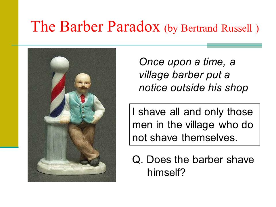 The Barber Paradox (by Bertrand Russell )