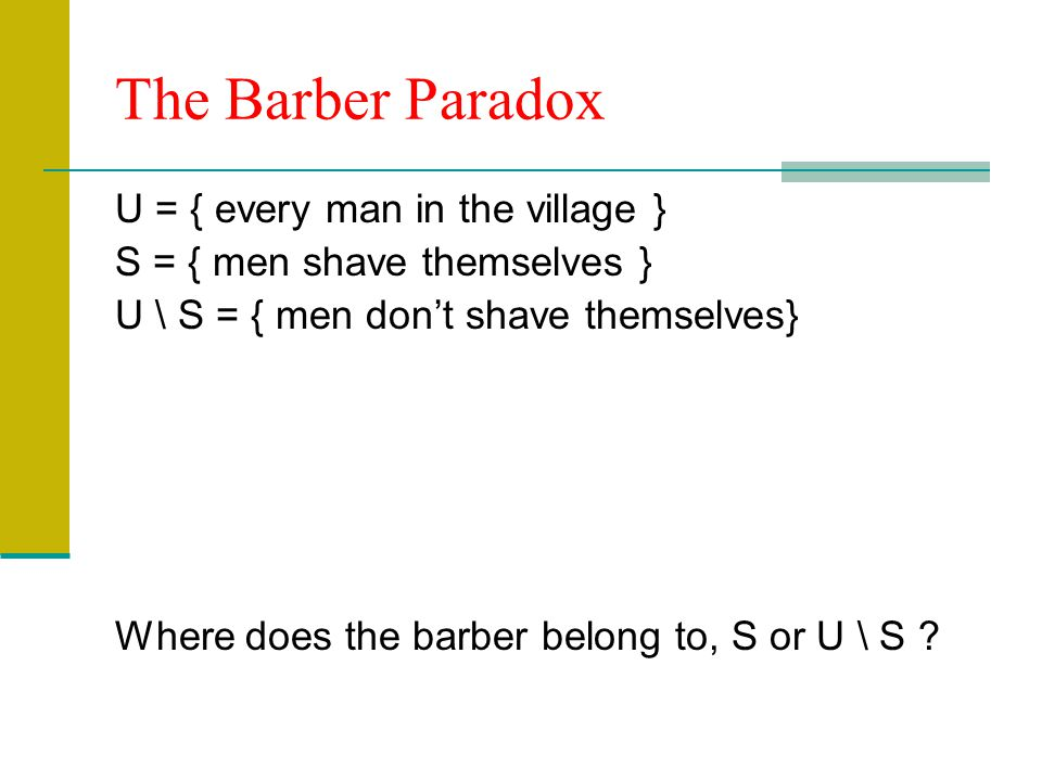 The Barber Paradox U = { every man in the village }