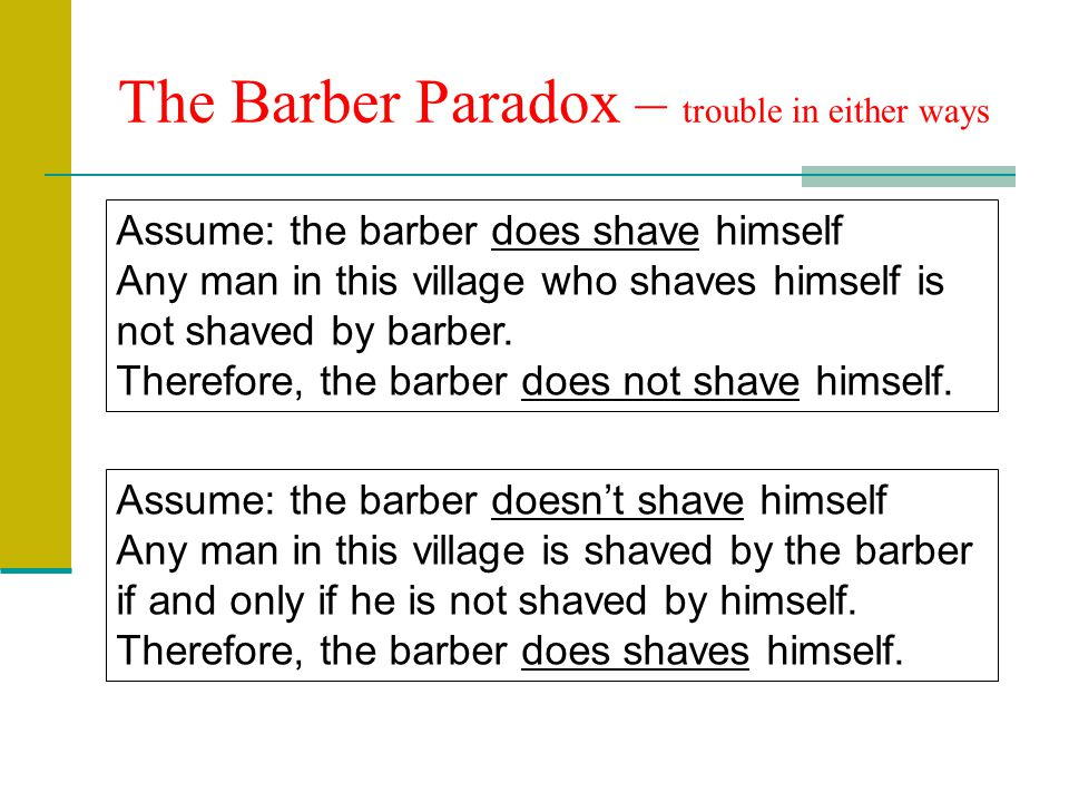 The Barber Paradox – trouble in either ways