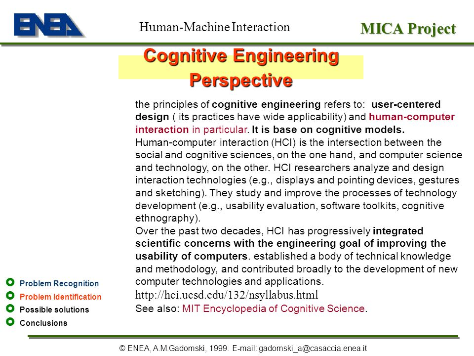Cognitive Engineering Perspective