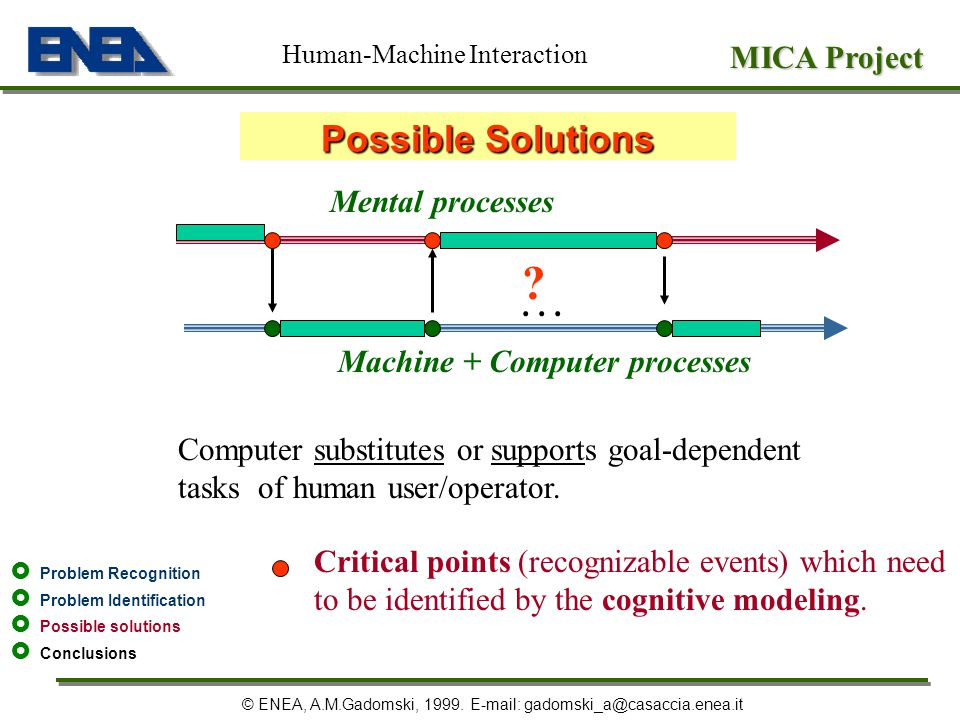 Possible Solutions MICA Project Mental processes . . .