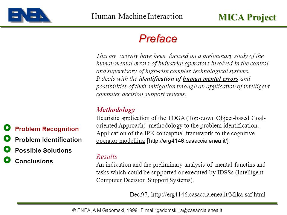 Preface MICA Project Human-Machine Interaction Methodology Results