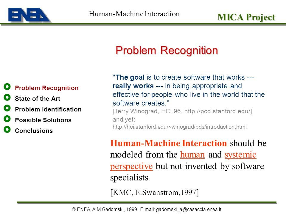 Problem Recognition MICA Project