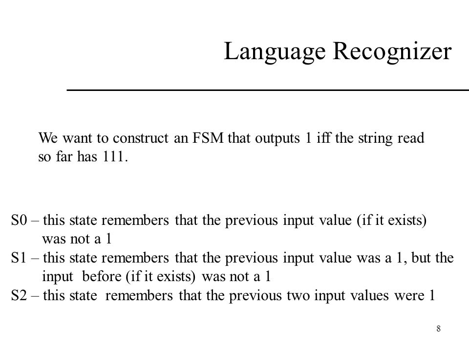 Language Recognizer We want to construct an FSM that outputs 1 iff the string read. so far has 111.