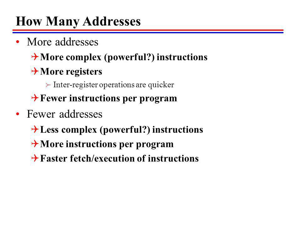 How Many Addresses More addresses Fewer addresses
