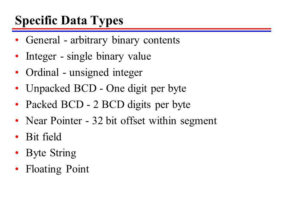 Specific Data Types General - arbitrary binary contents